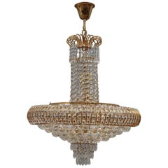 Round Swarovski Chandelier 1970 Gold-Plated Crystal Italian Design Diamond