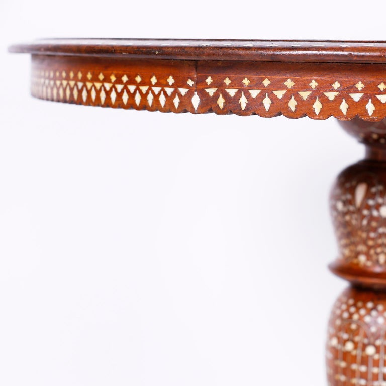 Round Syrian Inlaid Center Table For Sale 1