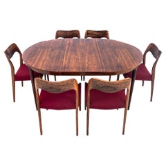 Round Table and Chairs by Niels O. Møller, Denmark, 1960s