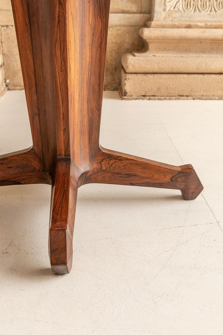 Wood Round Table Attributed to Melchiorre Bega For Sale