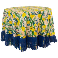 Round Table Cloth with Lemon Pattern and Blue Fringe