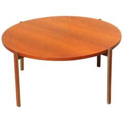 Round Table Coffe Mid-Century Modern Italian Design Wood Teak Brass Parts