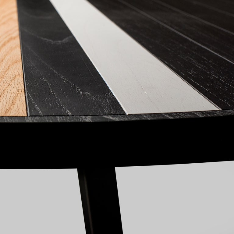 Modern Round Table Dining in Oak, Black and White For Sale