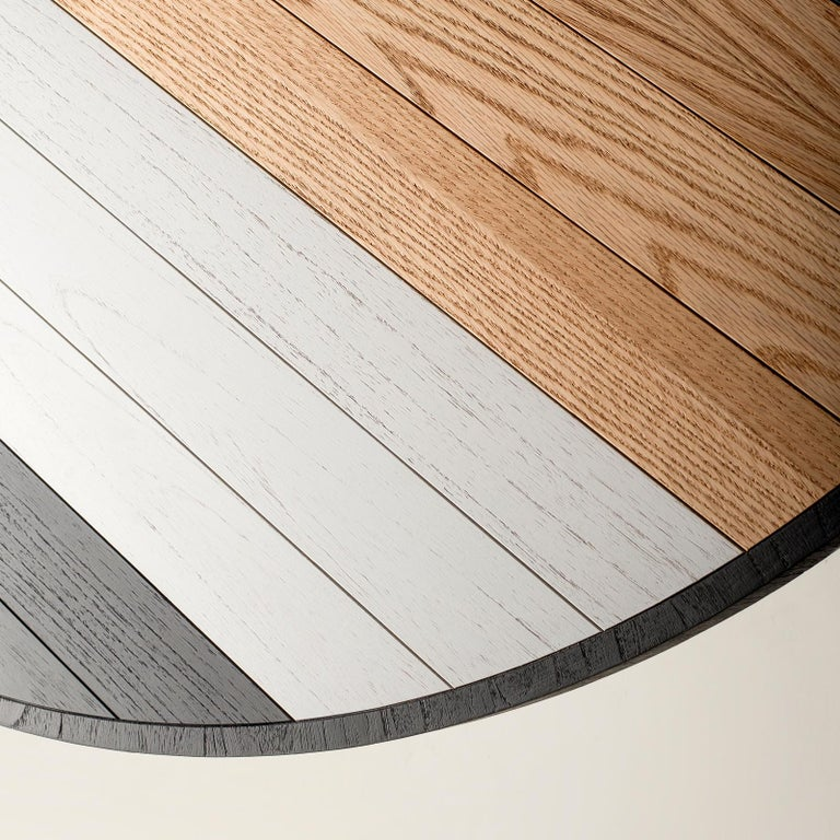 Brazilian Round Table Dining in Oak, Black and White For Sale