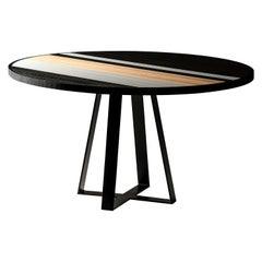Modern 6 Seater Oak Round Circular Dining Table, Black and White Oak