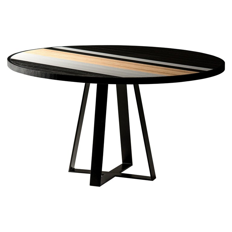 Round Table Dining in Oak, Black and White For Sale