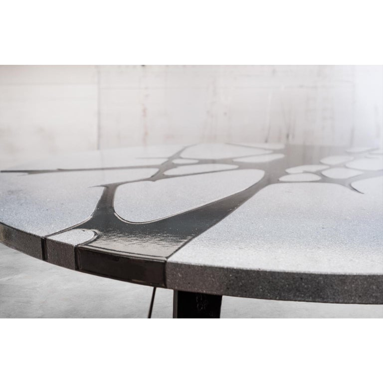 Round Table in Lava Stone and Steel, FilodiFumo 1st For Sale 2