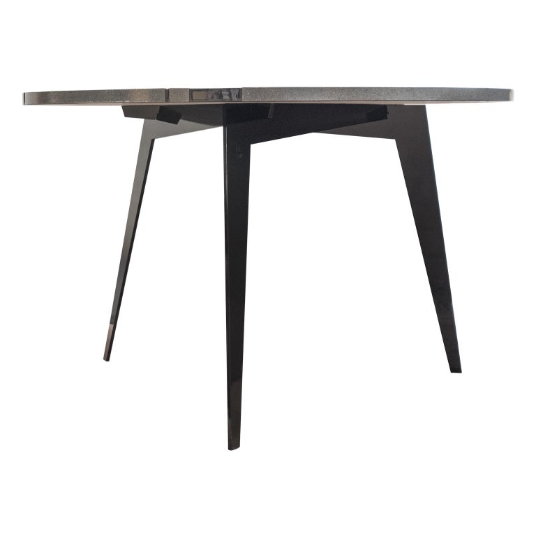 Modern Round Table in Lava Stone and Steel, FilodiFumo 1st For Sale