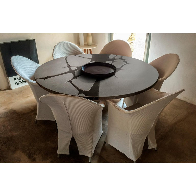 Italian Round Table in Lava Stone and Steel, FilodiFumo 1st For Sale