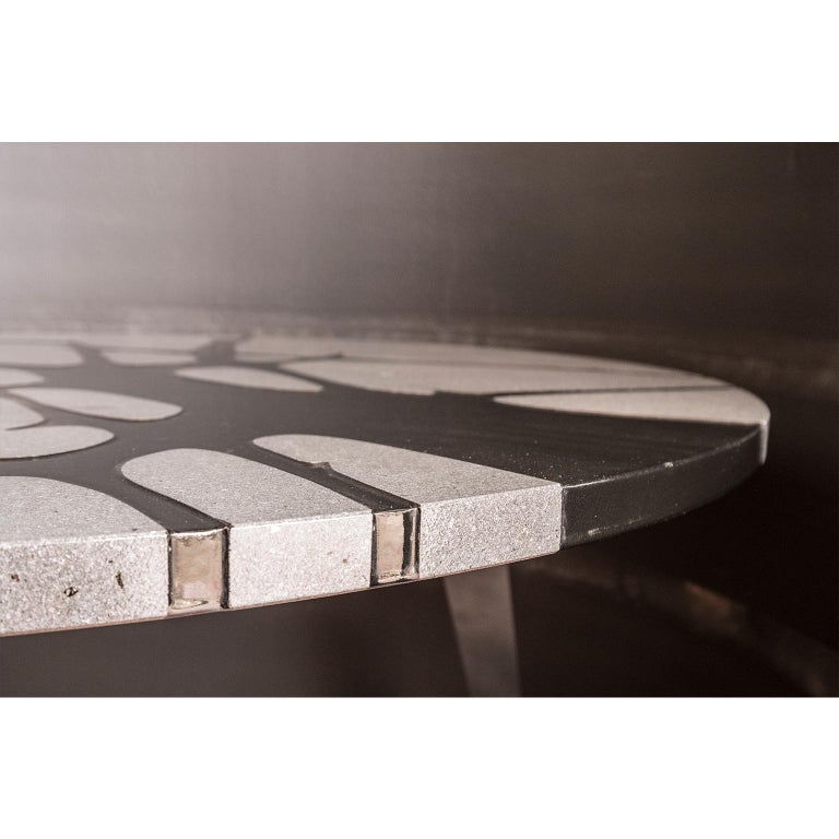 Round Table in Lava Stone and Steel, FilodiFumo 1st For Sale 1