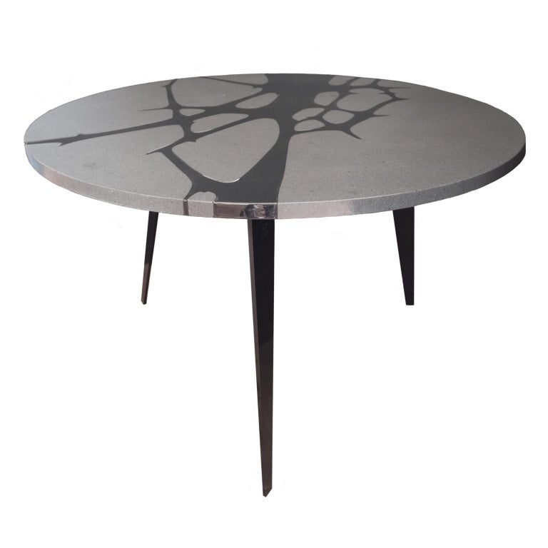 Round Table in Lava Stone and Steel, FilodiFumo 1st For Sale