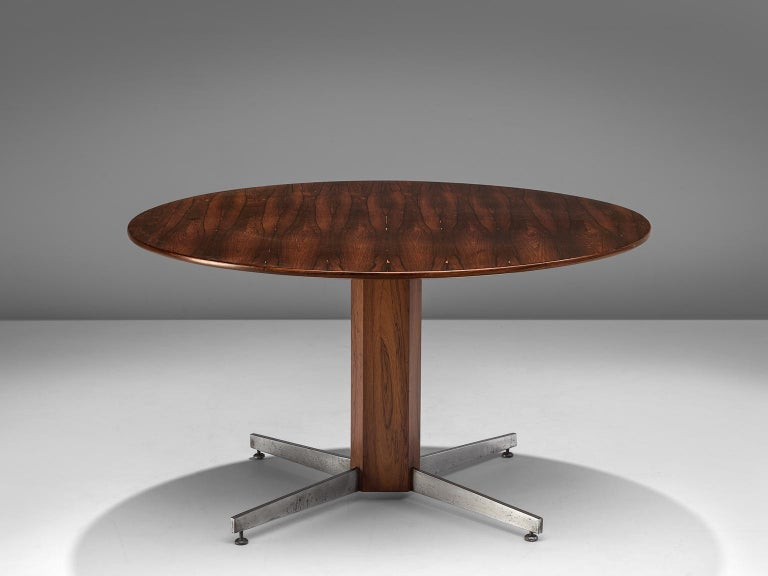 Round table in rosewood and metal by Jorge Zalszupin for L'Atelier, Brazil, 1960s.