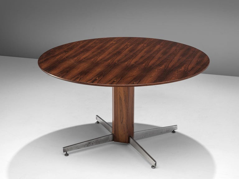 Mid-Century Modern Round Table in Rosewood and Metal by Jorge Zalszupin For Sale