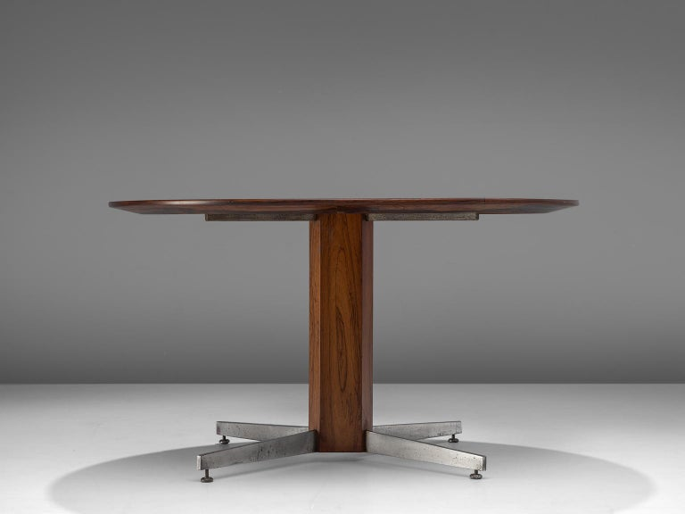 Brazilian Round Table in Rosewood and Metal by Jorge Zalszupin For Sale