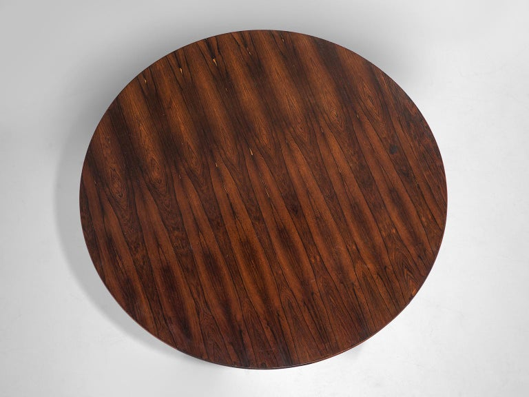 Mid-20th Century Round Table in Rosewood and Metal by Jorge Zalszupin For Sale