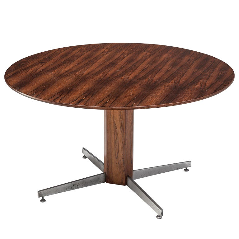 Round Table in Rosewood and Metal by Jorge Zalszupin For Sale