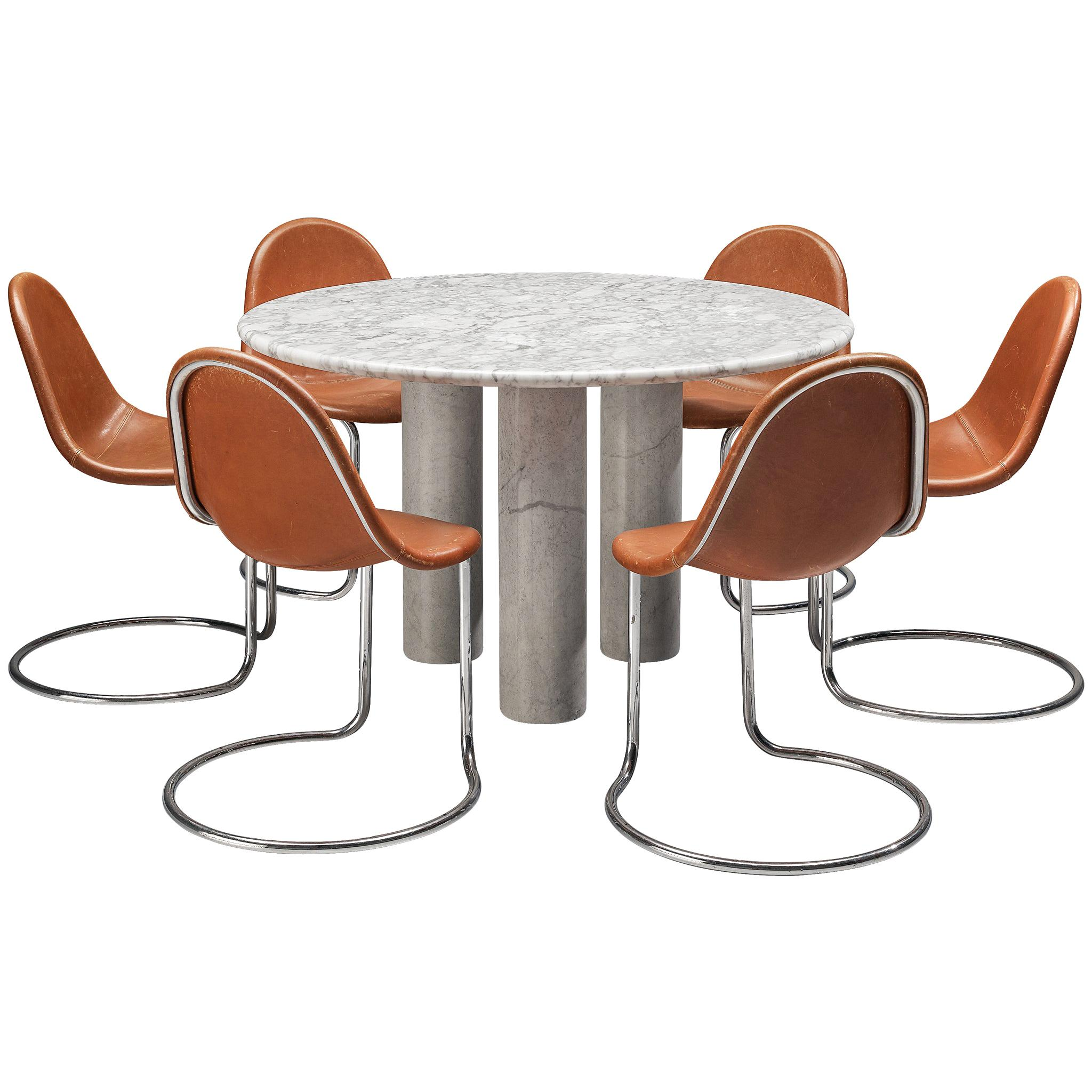 Round Table in White Marble and G. Stoppino 'Maia' Dining Chairs in Leather
