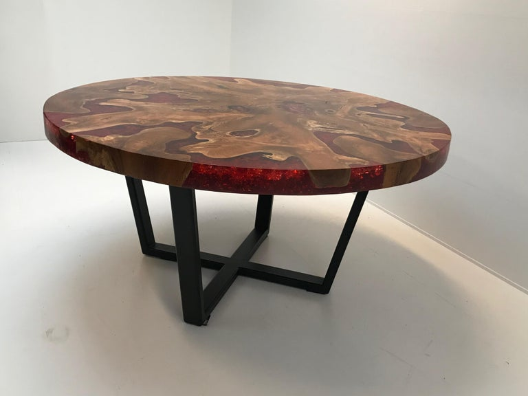 Round Table, Teak and Resin 10