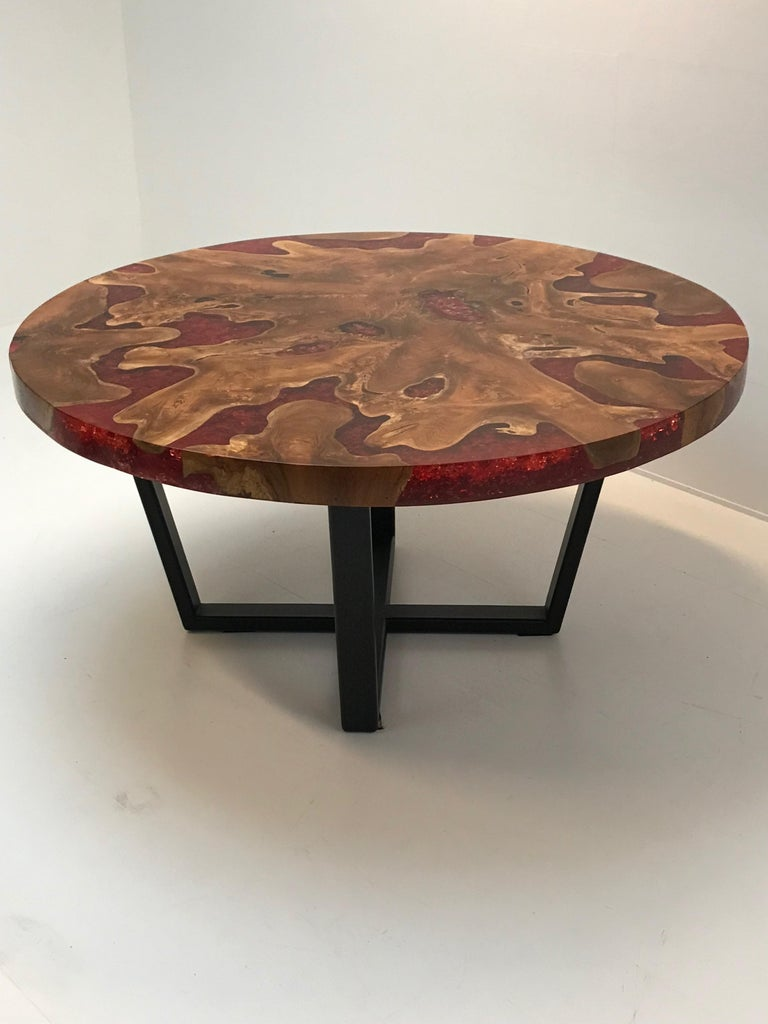 Round Table, Teak and Resin 12