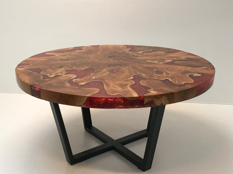 Round Table, Teak and Resin 14