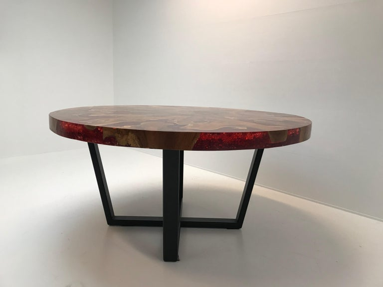 Round Table, Teak and Resin 4