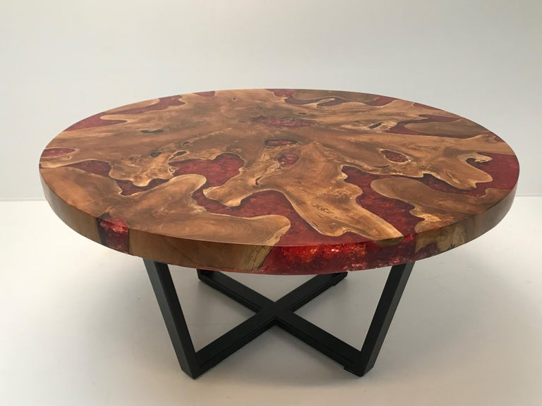 Round Table, Teak and Resin 9