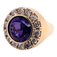 Round Tanzanite Diamond Signature Ring in 14k Yellow Gold