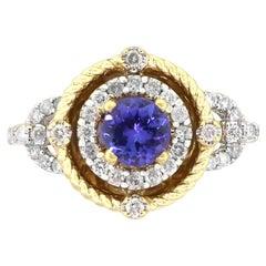 Round Tanzanite Ring with Diamonds