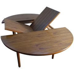 Round Teak Dining Table with Self Storing Butterfly Leaf by Hornslet Mobler
