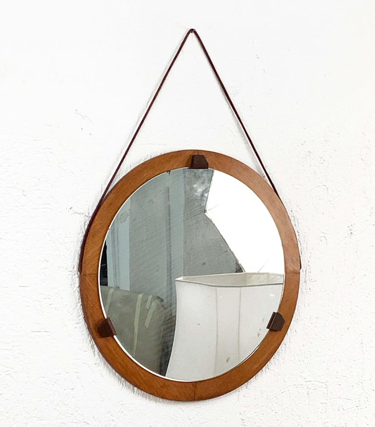 20th Century Round Teak Framed Mirror, Italian Wall Mirror and Leather, Italy, 1960s For Sale