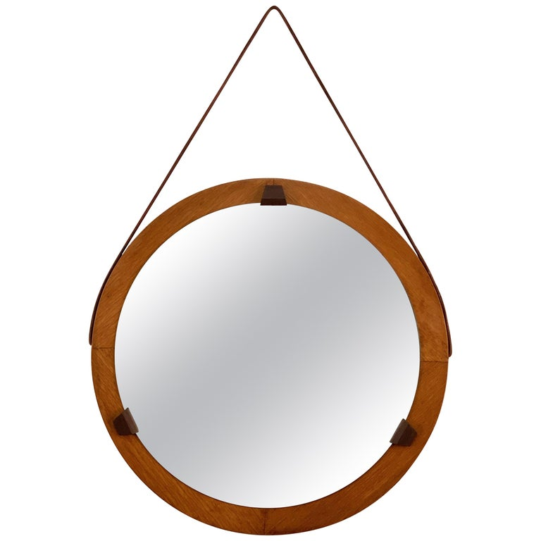 Round Teak Framed Mirror, Italian Wall Mirror and Leather, Italy, 1960s For Sale