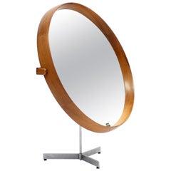 Round Teak Table Mirror by Uno & Östen Kristiansson for Luxus, 1960s
