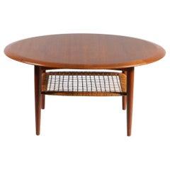 Round Teakwood Coffee Table Silkeborg for Johannes Andersen Denmark 1950