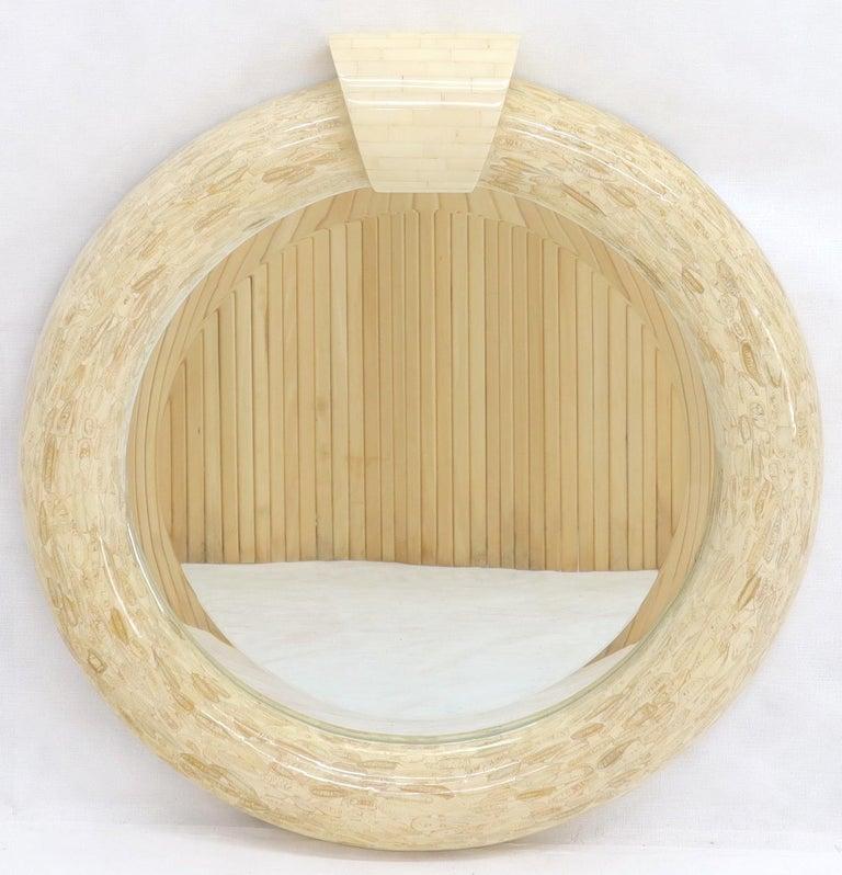 Mid-Century Modern Round Tessellated Bone Mirror For Sale