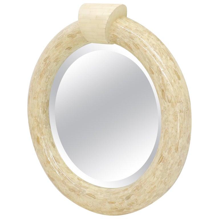 Round Tessellated Bone Mirror For Sale