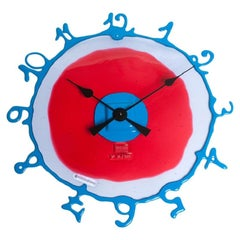 Round The Clock, Large, in Dark Ruby, Lilac & Matt Light Blue by Gaetano Pesce