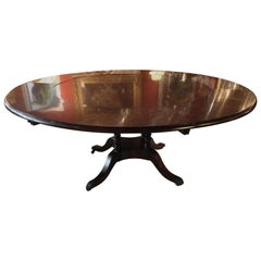Round Theodore Alexander Dining Table in Mahogany Flame Veneers Regency Styled