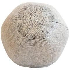 Round Throw Pillow Ball in Snake Skin Linen
