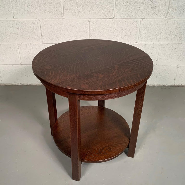 Round Tiered Quarter Sawn Oak Craftsman Table By Stickley