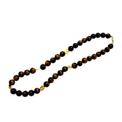 Round Tiger's Eye Bead Necklace with Yellow Gold Accents