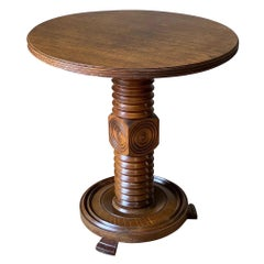 Round Top, Pedestal Base, Charles Duduoyt Side Table, France, 1930s