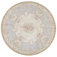 Round Traditional French Aubusson Style Flat-Weave Rug