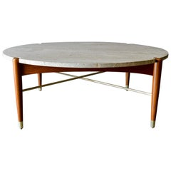 Round Travertine and Brass Coffee Table by DUX, circa 1965