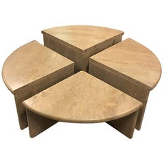 Round Travertine Cocktail Table in Four Pieces, Italy, 1970s