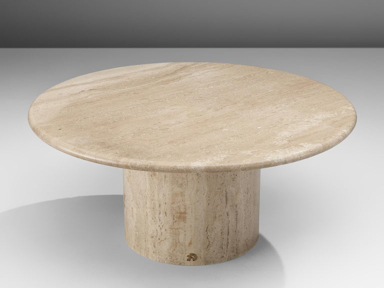 Cocktail table, travertine, Italy, 1970s.