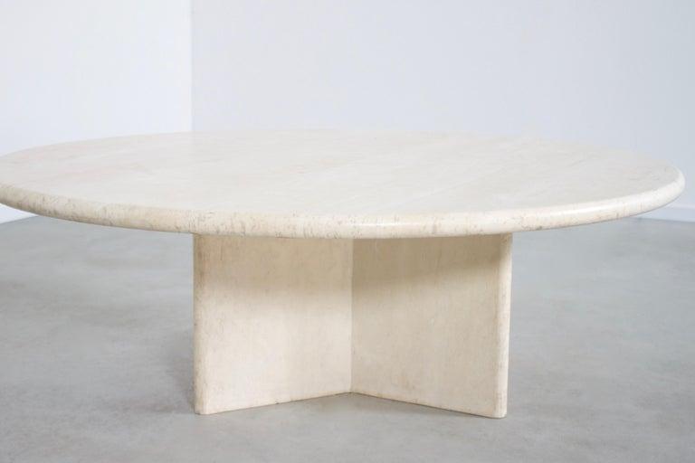 Mid-Century Modern Round Travertine Coffee Table, 1970s
