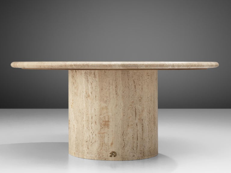 Post-Modern Round Travertine Coffee Table, 1970s For Sale