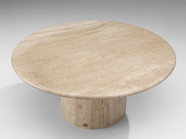 Italian Round Travertine Coffee Table, 1970s For Sale