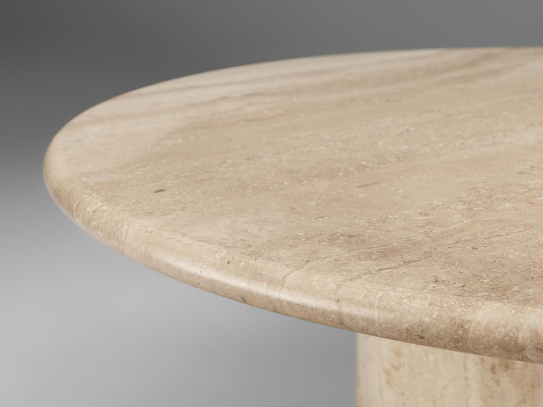 Round Travertine Coffee Table, 1970s In Good Condition For Sale In Waalwijk, NL