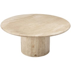 Round Travertine Coffee Table, 1970s